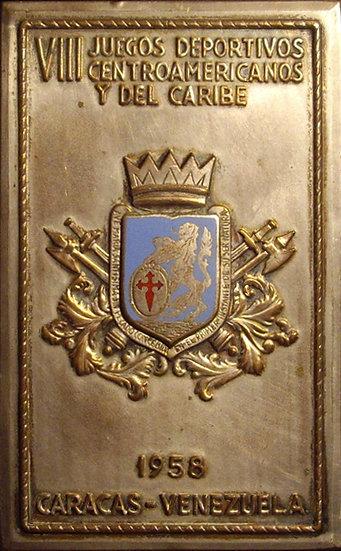 VENEZUELA. PLACA VIII JUEGOS CENTROAMERICANOS Y DEL CARIBE. CARACAS. 1.958
