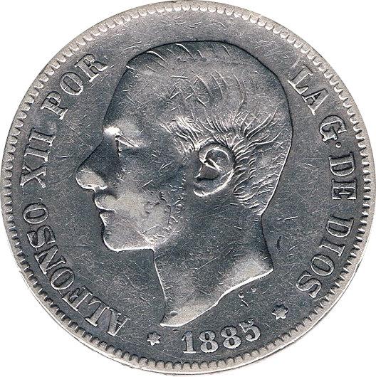 ESPAÑA. ALFONSO XII.  5 PESETAS 1.885*86 MS-M