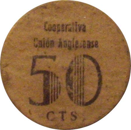 ESPAÑA. GUERRA CIVIL. COOPERATIVA UNIÓN ANGLESENSE. 50 CÉNTIMOS. CARTÓN