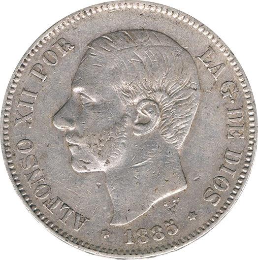 ESPAÑA. ALFONSO XII.  5 PESETAS 1.885*87 MS-M