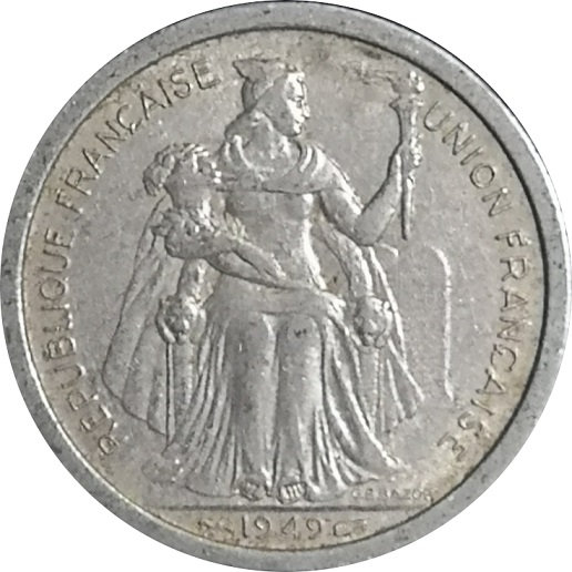 NUEVA CALEDONIA FRANCESA. 2 FRANCOS. 1.949