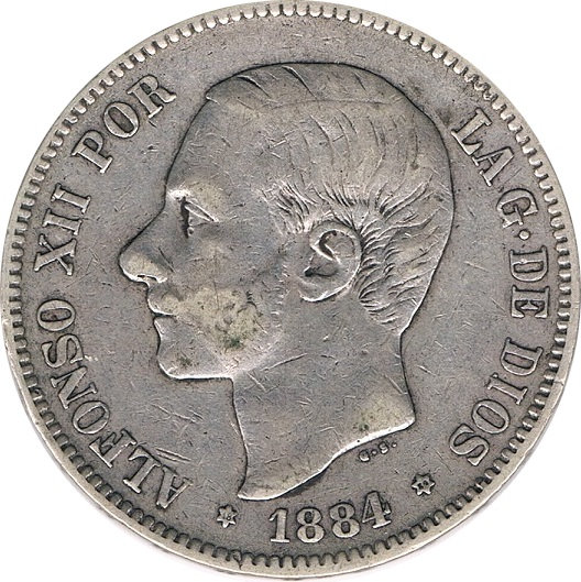 ESPAÑA. ALFONSO XII.  5 PESETAS 1.884*84 MS-M