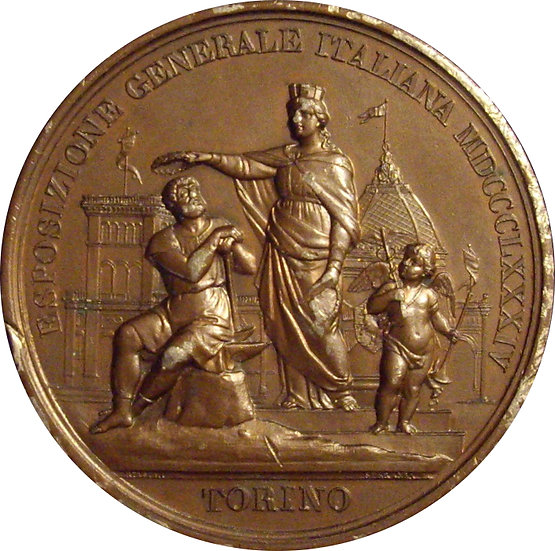 ITALIA. MEDALLA EXPOSICIÓN GENERAL DE TORINO. 1.884