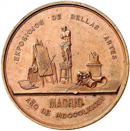 ESPAÑA. ALFONSO XII. MEDALLA EXPOSICIÓN DE BELLAS ARTES. MADRID. 1.884