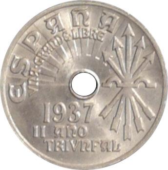 ESPAÑA. FRANCISCO FRANCO. 25 CÉNTIMOS 1.937