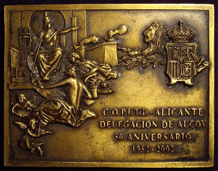 ESPAÑA. PLACA 50 ANIVERSARIO COLEGIO PERITOS INDUSTRIALES. ALCOY. 2.002