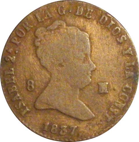 ESPAÑA. ISABEL II. 8 MARAVEDÍS SEGOVIA 1.837