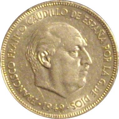ESPAÑA. FRANCISCO FRANCO. 5 PESETAS. 1.949*49