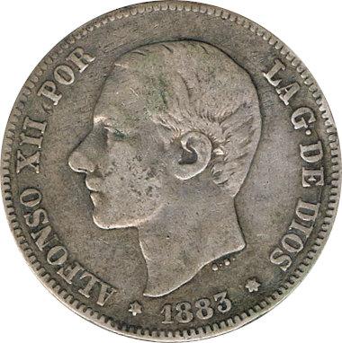 ESPAÑA. ALFONSO XII.  2 PESETAS 1.883*83 MS-M