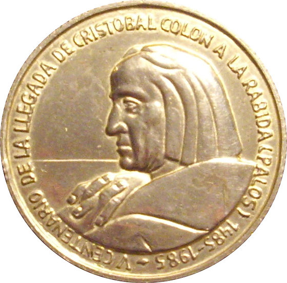 MEDALLA V CENTENARIO LLEGADA COLÓN A LA RÁBIDA. 1.985