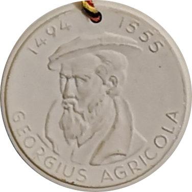ALEMANIA. MEDALLA PORCELANA ALQUIMISTA GEORGIUS AGRICOLA. 1.955