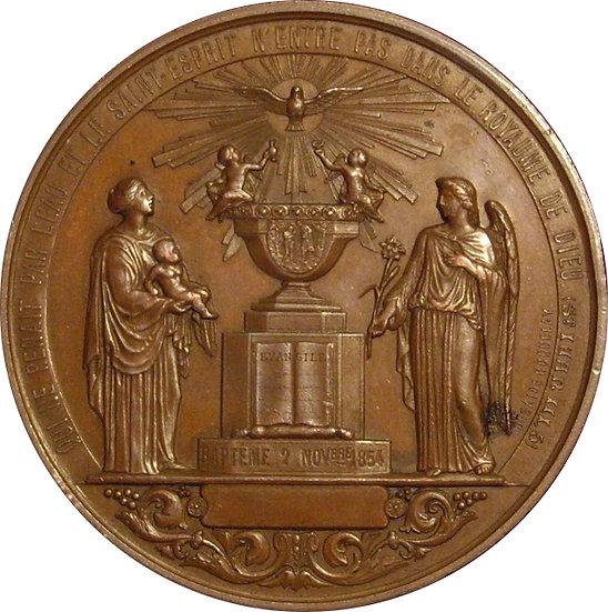 FRANCIA. MEDALLA BAUTISMO-1ª COMUNIÓN. 1.854