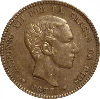 ESPAÑA. ALFONSO XII.  10 CÉNTIMOS. 1.877. BARCELONA