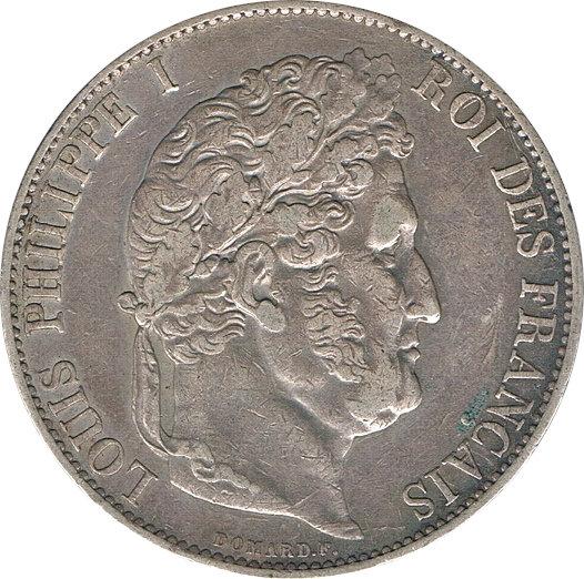 FRANCIA. LUIS FELIPE I, 5 FRANCOS 1.845 LILLE