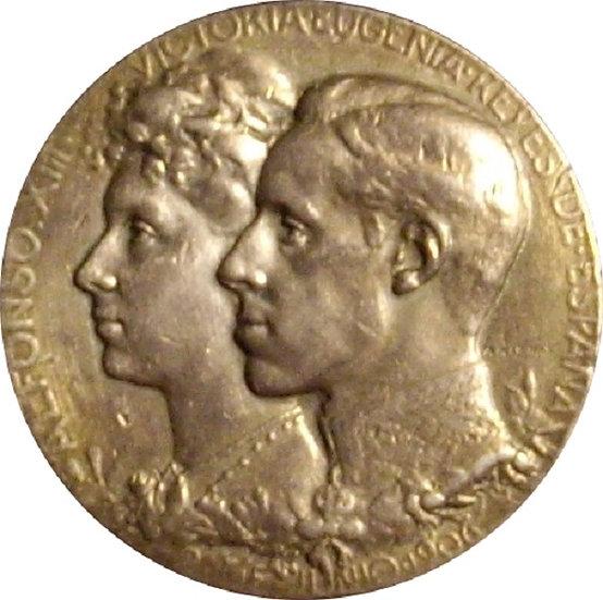 ALFONSO XIII. MEDALLA BODA CON VICTORIA EUGENIA 1.906