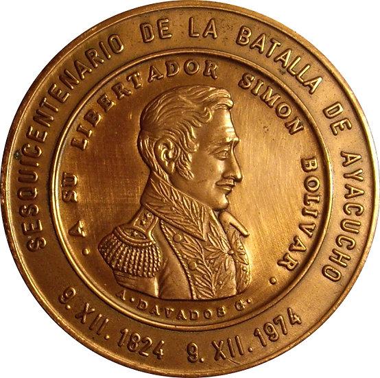 VENEZUELA. MEDALLA SESQUICENTENARIO BATALLA AYACUCHO 1.974