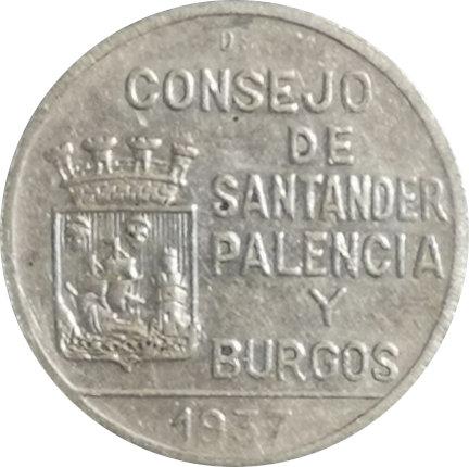 ESPAÑA. GUERRA CIVIL. SANTANDER, PALENCIA Y BURGOS. 1 PESETA. 1.937