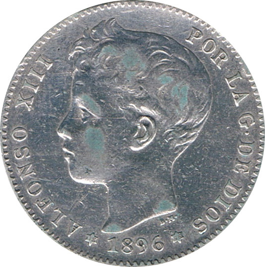 ESPAÑA. ALFONSO XIII.  1 PESETA 1896*96 PG-V
