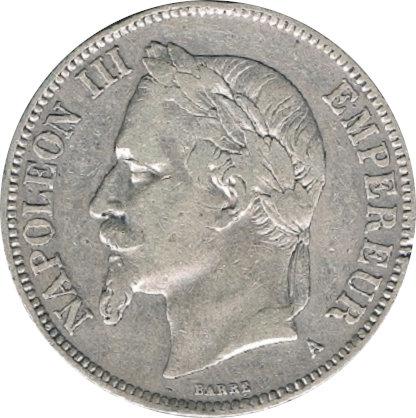 FRANCIA. NAPOLEÓN III. 5 FRANCOS 1.870 PARÍS
