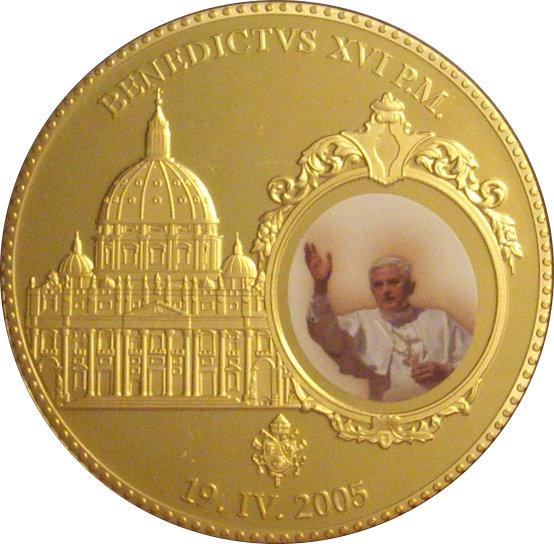 VATICANO. MEDALLA BENEDICTO XVI. ESMALTE 2005