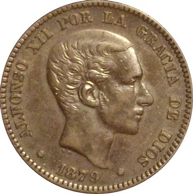 ESPAÑA. ALFONSO XII.  10 CÉNTIMOS. 1.879. BARCELONA