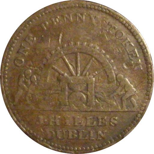 INGLATERRA. 1 PENNY TOKEN. 1.813. J. HILLES - DUBLÍN