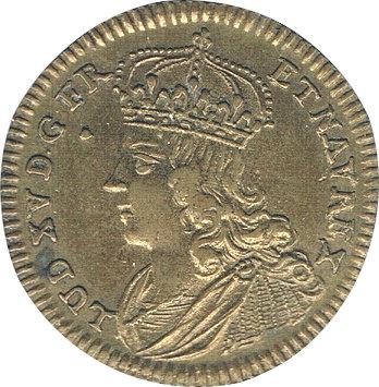 FRANCIA. LUIS XV. JETÓN TRATADO DE PAZ CON ESPAÑA. 1.723