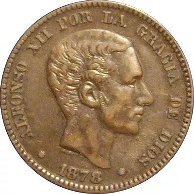 ESPAÑA. ALFONSO XII.  10 CÉNTIMOS. 1.878. BARCELONA