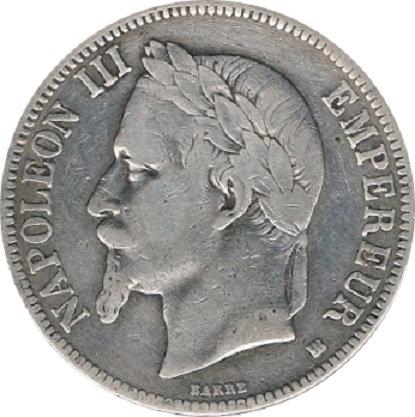 FRANCIA. NAPOLEÓN III. 5 FRANCOS 1.868 ESTRASBURGO