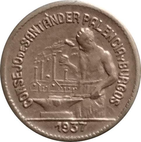 ESPAÑA. GUERRA CIVIL. SANTANDER, PALENCIA Y BURGOS. 50 CÉNTIMOS. 1.937