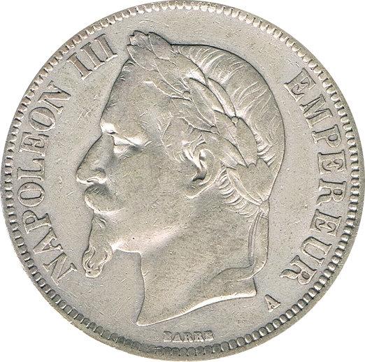 FRANCIA. NAPOLEÓN III. 5 FRANCOS 1.867 PARÍS