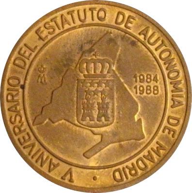 ESPAÑA. MEDALLA F.N.M.T. V ANIVERSARIO ESTATUTO AUTONOMÍA MADRID. 1.988