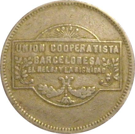 ESPAÑA. COOPERATIVA EL RELOJ Y LA DIGNIDAD. 5 PESETAS. BARCELONA. 1.927