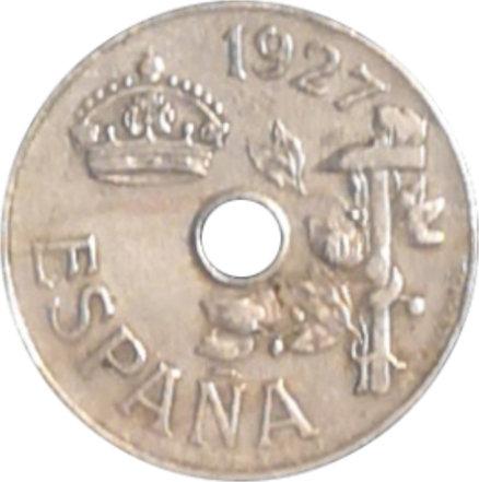 ESPAÑA. ALFONSO XIII.  25 CÉNTIMOS 1927 PC-S