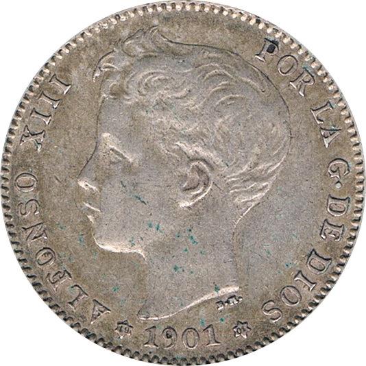 ESPAÑA. ALFONSO XIII.  1 PESETA 1901*01 SMV