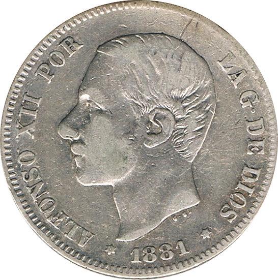 ESPAÑA. ALFONSO XII.  2 PESETAS 1.881*81 MS-M
