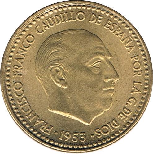 ESPAÑA. FRANCISCO FRANCO. 1 PESETA 1.953 *62