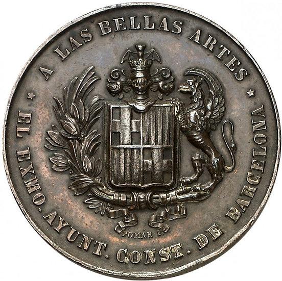 ISABEL II. MEDALLA A LAS BELLAS ARTES. BARCELONA 1.848