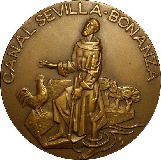 ESPAÑA. MEDALLA F.N.M.T. INAUGURACIÓN CANAL SEVILLA-BONANZA. 1.977