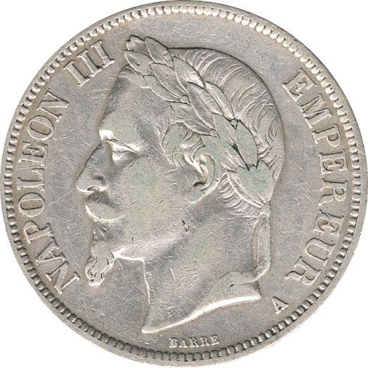 FRANCIA. NAPOLEÓN III. 5 FRANCOS 1.868 PARÍS