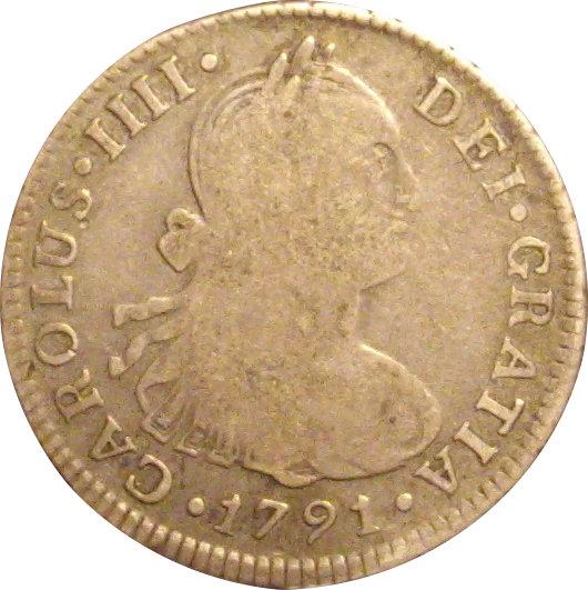 ESPAÑA. CARLOS IV. 2 REALES 1.791 LIMA