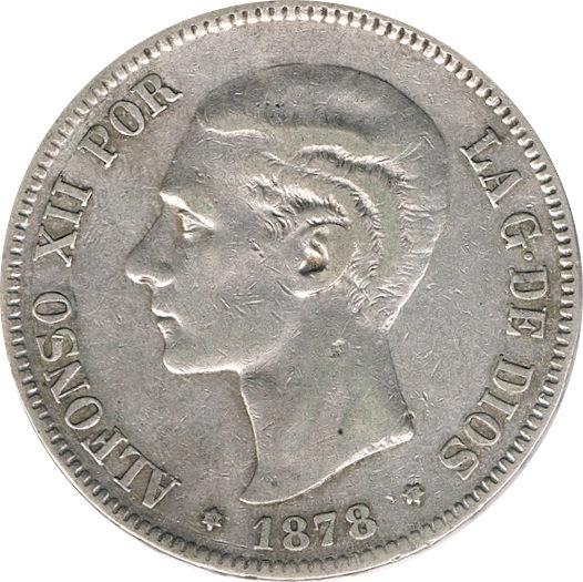 ESPAÑA. ALFONSO XII.  5 PESETAS 1.878*78 EM-M