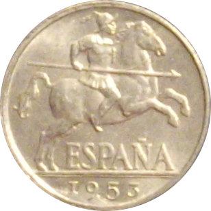 ESPAÑA. FRANCISCO FRANCO. 10 CÉNTIMOS 1.953