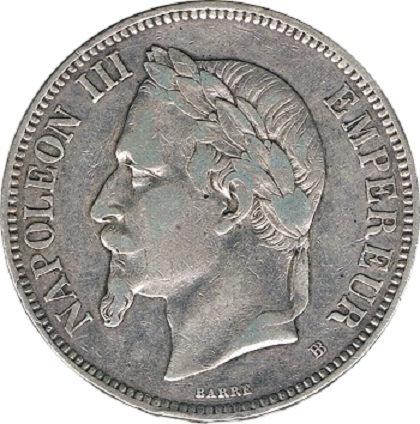 FRANCIA. NAPOLEÓN III. 5 FRANCOS 1.870 ESTRASBURGO