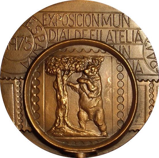 ESPAÑA. MEDALLA EXPOSICIÓN MUNDIAL DE FILATELIA. 1.975
