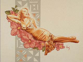 SOLD! Original oil on canvas of JoLane Lentz painted by PinUp Artist James Owens sells at auction.