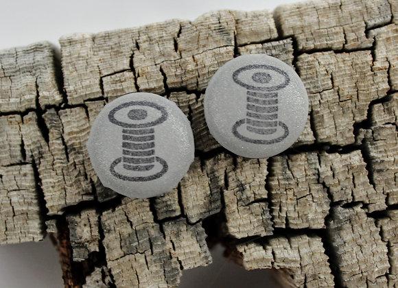 thread spools stud earrings