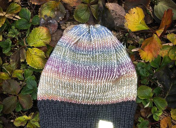 knit reflective hat, dusty rose