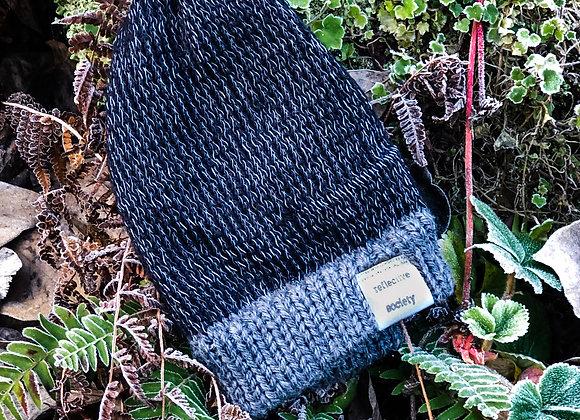 black knit reflective hat