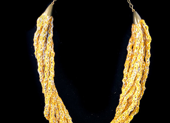mustard knit necklace